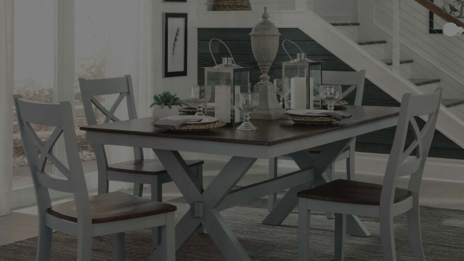 Brown & white dining table
