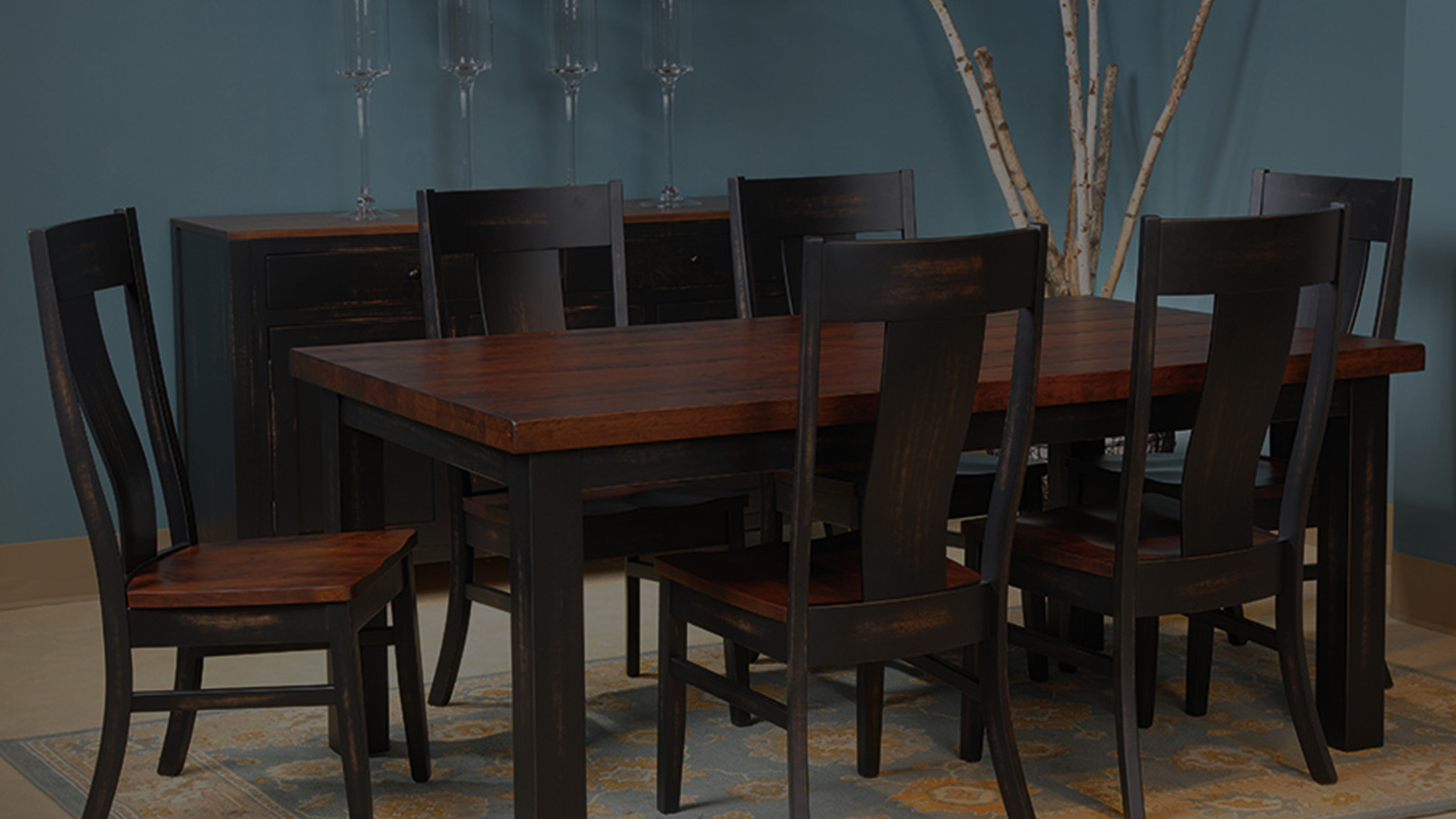 Black & dark wood dining table